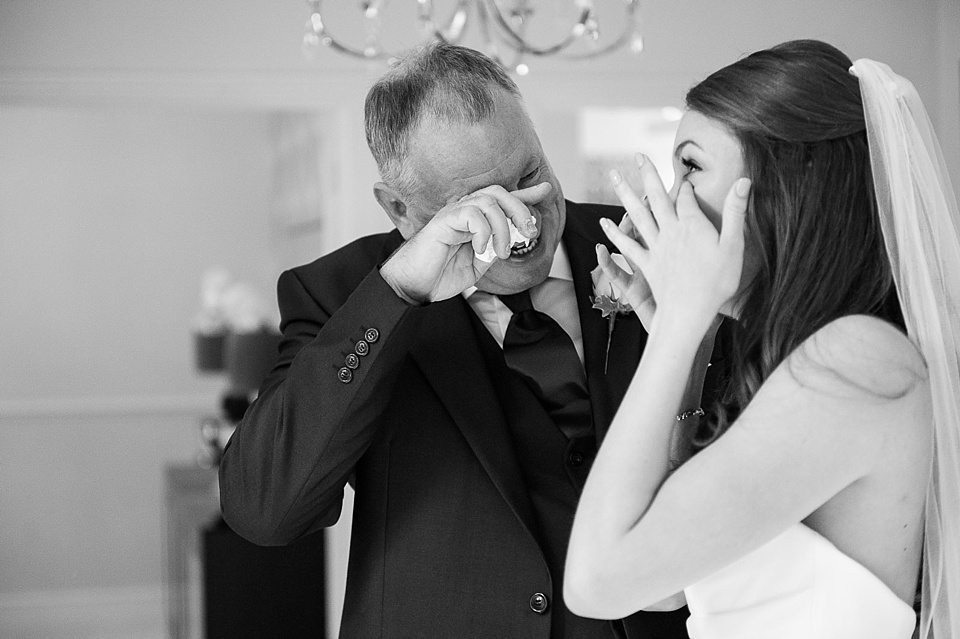 bride and father of bride cry tears of happiness before the ceremony