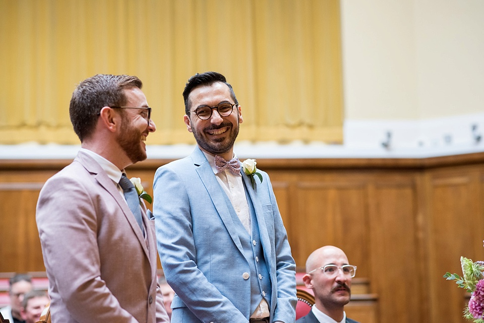 8 same sex wedding pink and blue suits - Fiona Kelly